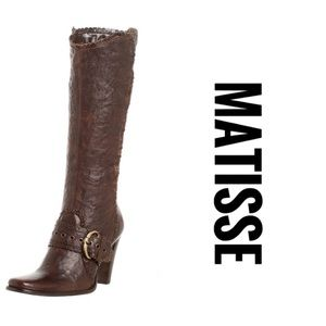MATISSE ARTIE BROWN BOHO CRINKLED LEATHER BOOTS